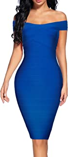 Women's Bandage Dress Off Shoulder Spaghetti Bodycon Club Party Dress