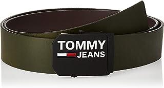 حزام جلدي 4.0 للرجال مطبوع عليه شعار العلامة من تومي هيلفجر، اخضر، 95 سم