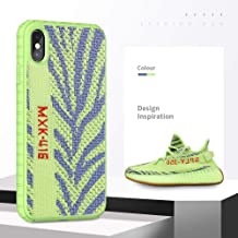 Fashion Yeezy Case for iPhone Xs Max, Using Same Materials with Yeezy Sneakers on The Back,Drop Protection & Anti Scratch,Ultra Slim Sport Cover for iPhone 6.5 inch(Zebra Yellow)