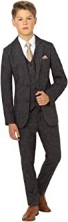 Ainsley Tweed, Boys Gray Slim Fit Occasion Wear, Kids Wedding Suit with Shirt and Gray Vest, X-Large to 20