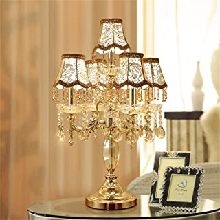 @Uncle Sam LI Crystal Table Lamp, Luxury High-Grade Gold Table Lamp with The Crystal and Fabric Lampshade for in The Living Room Bedroom Bedside Home Decorative Lights
