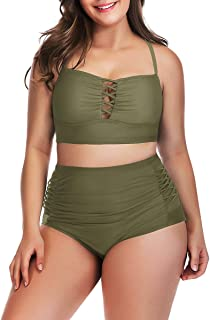 Yomoko Women's Plus Size High Waist Bandage Bikini Sets Chic Swimsuit Retro Bathing Suit