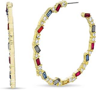 Steve Madden Rainbow Baguette Rhinestone Post Hoop Earrings for Women