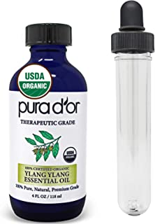 PURA D'OR Ylang Ylang Essential Oil (4oz / 118mL) USDA Organic 100% Pure Natural Therapeutic Grade Diffuser For Aromathera...
