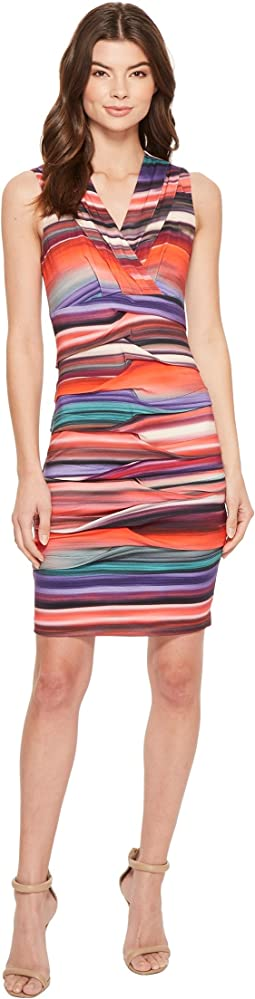 Nicole Miller - Abalone Stripe Dakota V-Neck Dress