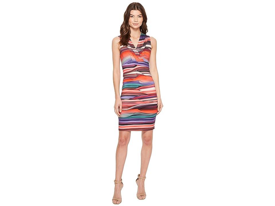 Nicole Miller Abalone Stripe Dakota V-Neck Dress (Multi) Women