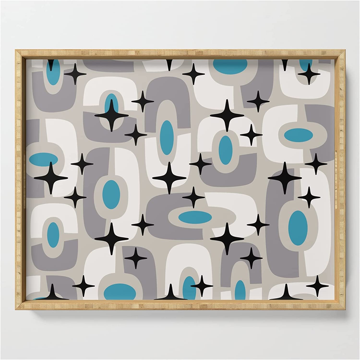 Mid Century Modern Jacksonville Mall Cosmic It is very popular Abstract 145 Blue Gray Cyan And Black