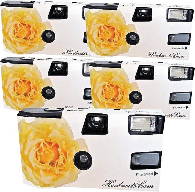 5 x Photo Porst Boda Cámara/cámara desechable Crema Amarillas de Bodas Rose (con Flash luz y Pilas por 27 Fotos ISO 400 Fuji)