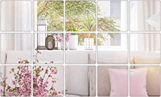 BBTO Mirror Sheets Flexible Non Glass Mirror Plastic Mirror Self Adhesive Tiles Mirror Wall Stickers (15 Pieces, Size 5)