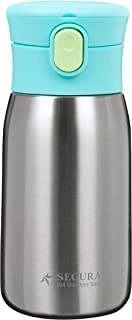 Secura Vacuum Insulated Stainless Steel Straw Water Bottle with Handle, 350ml 12oz, Green