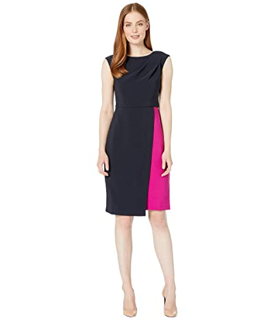 Maggy London Mystic Crepe Color Block Dress (Dark Navy/Raspberry) Women