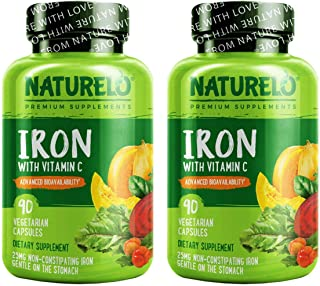 NATURELO Vegan Iron Supplement with Whole Food Vitamin C - Best Natural Iron Pills for Women & Men w/Iron Deficiency Inclu...