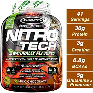 MuscleTech NitroTech Protein Powder Plus Muscle Builder, Naturally Flavored, 100% Whey Protein with Whey Isolate, Milk Chocolate, 40 Servings (4lbs)