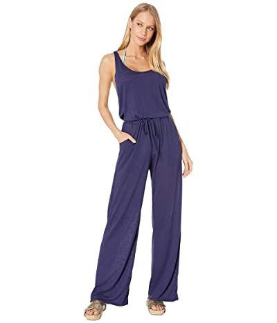 BECCA by Rebecca Virtue Breezy Basics Twist Back Jumpsuit Cover-Up (Navy) Women