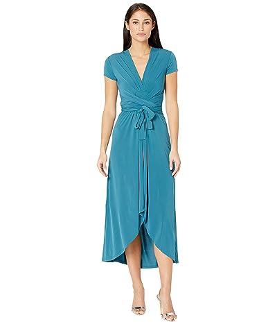 MICHAEL Michael Kors Petite Cap Sleeve Maxi Wrap Dress (Dark Cyan) Women