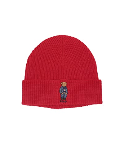 Polo Ralph Lauren Jean Jacket Sweater Bear Cuff Hat (Carriage Red) Caps