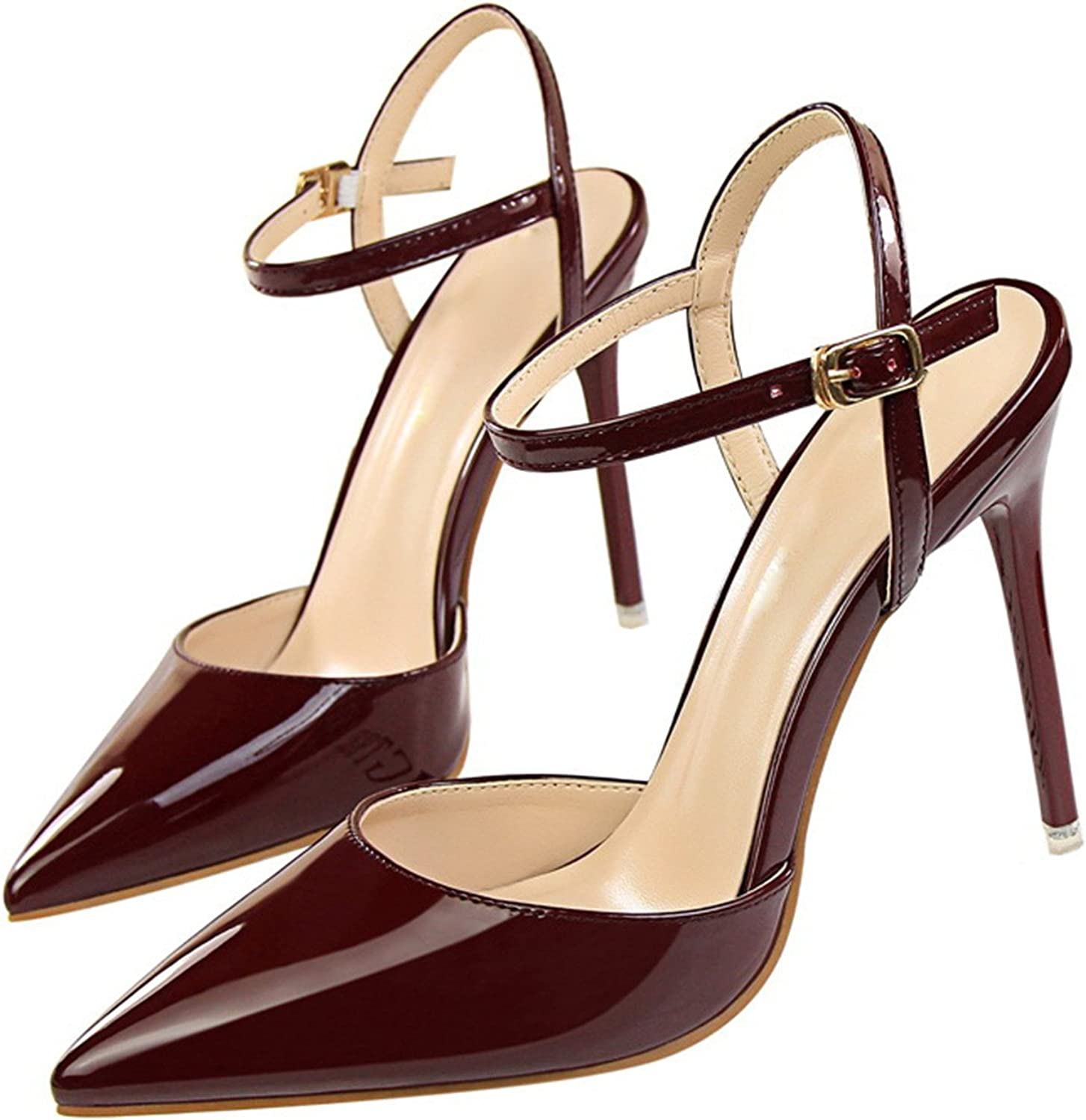 Fashion Ankle Strap shoes Woman Pointed Toe Thin Heels Women's Buckle Slingbacks Pumps high Heels Wine Red 4.5