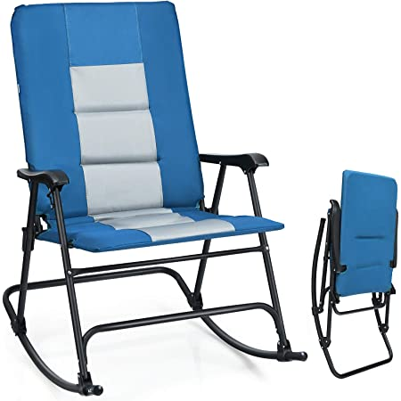 Blue//Grey Outsunny Folding Padded Outdoor Camping Rocking Chair Set