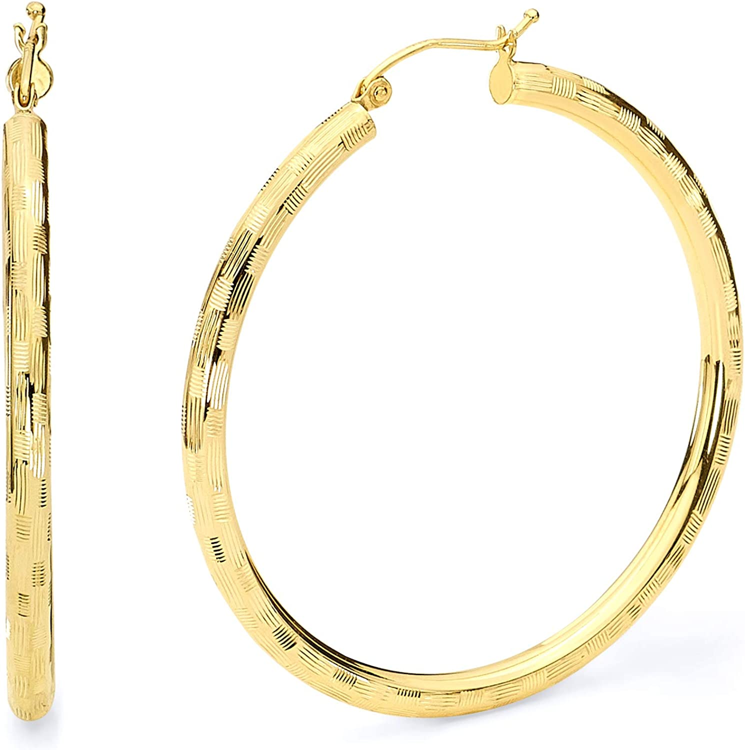 14k REAL Yellow Gold 3mm Thickness Hinged Diamond Cut Hoop Earrings - 6 Different Size Available