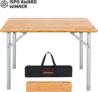 KingCamp Bamboo Folding Table with Carry Bag ISPO Award 4 Fold Heavy Duty Adjustable Height Aluminum Frame Camping Table