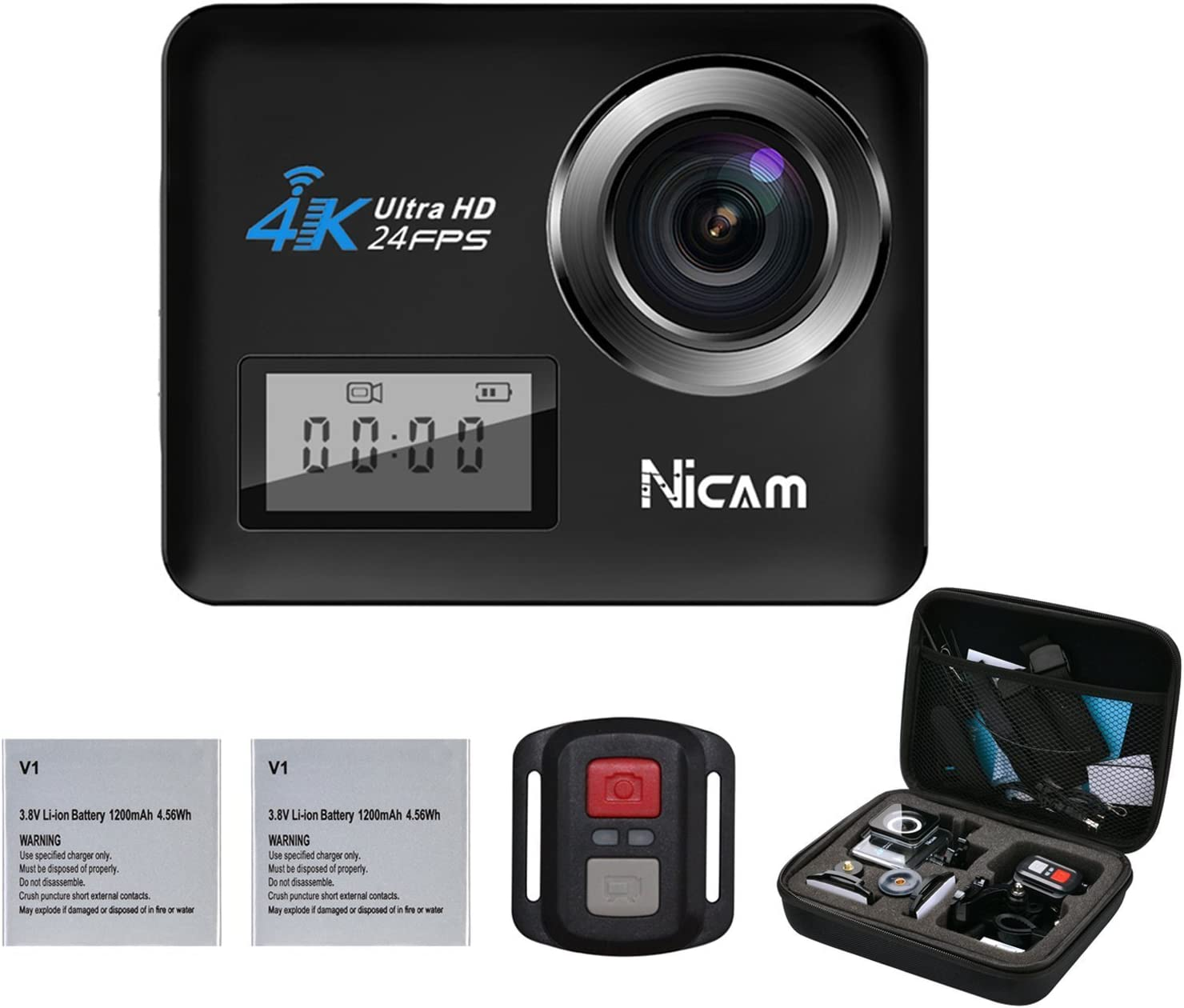 Touch 4K Action Camera, Dual Screen 20MP WiFi Sports Waterproof Camera with Dive House, 170° Wide-Angle Camcorder with Remote Control and 19 Mounting Kits