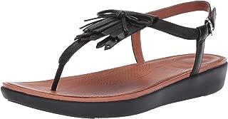 Women's Tia Fringe Toe Thong Sandals-Leather Flat
