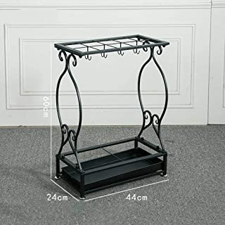 Yxsd Umbrella Stand Metal Rain Gear Storage Rack Hotel Lobby Multi-Functional Disassembly Storage Rack 10/21 Hole (Color : Black, Size : 44x24x60cm)