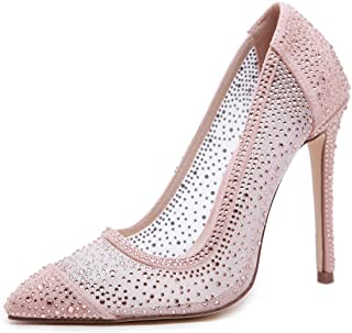 Stupmary Women's Bridal Pumps Pointed Toe Rhinestone Stiletto High Heels Wedding Party Crystal Heeled Shoes