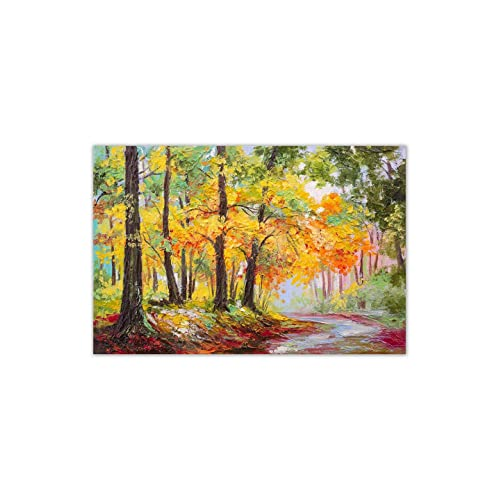 d3dc1278cf 999Store Printed Landscape Colourful Autumn Forest Wooden Stretched Painting  (91.44 cm x 3.81 cm x