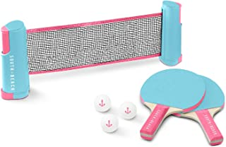 South Beach Table Tennis Set - Includes Retractable Net with Clamps, 3 Ping Pong Balls, & 2 Paddles - Portable and Attaches to Most Tables (Blue/Pink)