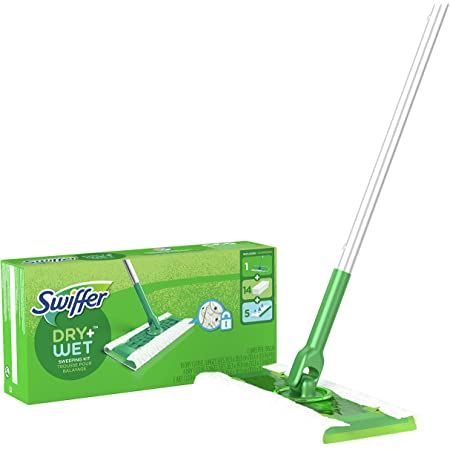 Swiffer Sweeper 2-in-1, Dry and Wet Multi Surface Floor Cleaner, Sweeping and Mopping Starter Kit, Includes 1 Mop + 19 Refills, 20 Piece Set