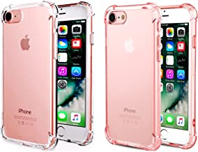 [2pack Clear+Rosegold] CaseHQ Crystal Clear Case Compatible with iPhone 6, 6s Phone, Shock Absorption case Bumper Slim Fit,Heavy Duty Protection TPU Cover Case