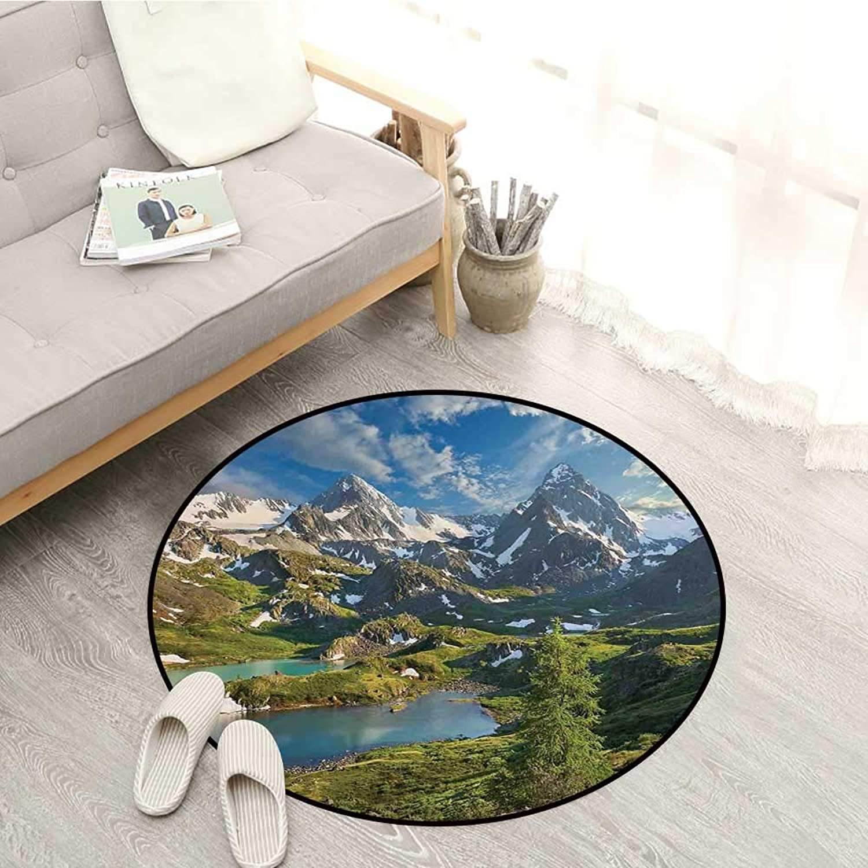 Landscape Skid-Resistant Rugs Mountain Lake Russia Siberia Altai Mountains Katun Ridge Snowy Peaks Sofa Coffee Table Mat 4'3  Green bluee and White