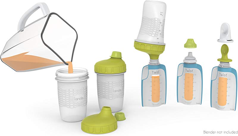 Kiinde Foodii Baby Food Storage Starter Kit Squeeze Pouch And Reusable Spouts Set