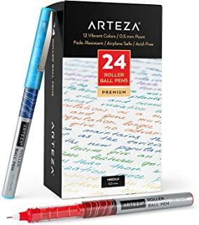 Arteza Rollerball Pens Fine Point, Set of 24 Colored Pens with Liquid Ink, Extra Fine 0.5 mm Needle Tip Pen, Make Precise ...