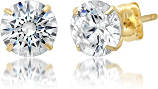 14k Yellow Gold Round Cut White Cubic Zirconia Stud Earrings, 2mm