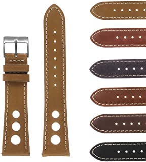 DASSARI Carrera 20mm Beige Distressed Leather Quick Release GT Rally Racing Watch Band Strap