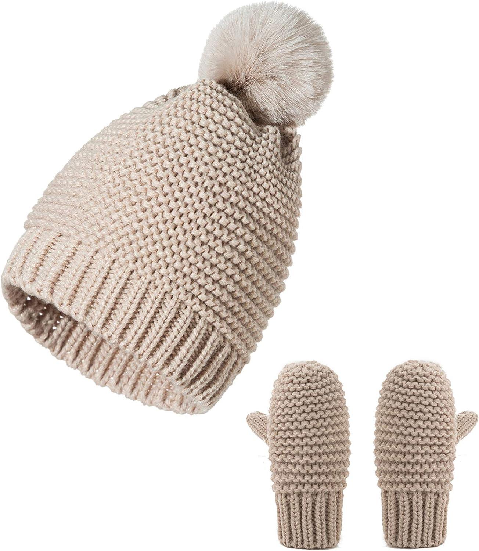 DERCLIVE Baby Toddler Hat Gloves Set, Winter Warm Knitted Pompom Hat+ Mittens gor 0-3 Years
