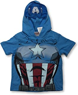 Captain America Hooded T-Shirt with Built in Jersey Mask