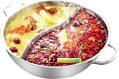 28cm Hot Pot Twin Divided Stainless Steel 28cm Cookware Hot Pot Ruled Compatible Soup Stock Pots Home Kitchen