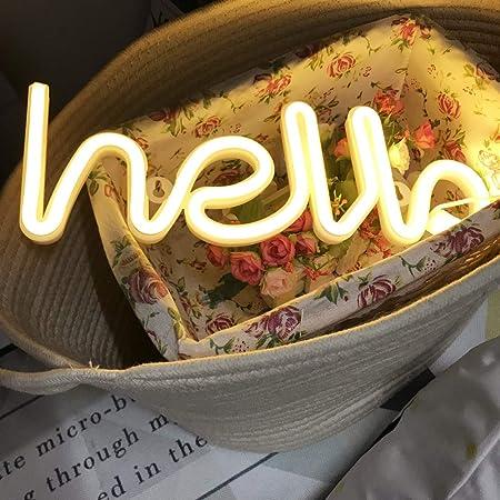 QiaoFei Neonlicht, LED Hallo Neon Wortzeichen Neon Buchstaben Licht Kunst dekorative Lichter, Festzelt Zeichen / Wanddekoration für Weihnachten, Geburtstagsfeier, Kinderzimmer(Warm White Hallo)