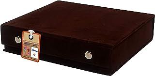 atorakushon® Velvet Brown Makeup Storage Box Travel Vanity Jhumka Earrings Cosmetic Necklace Jewellery Wardrobe Organizer ...