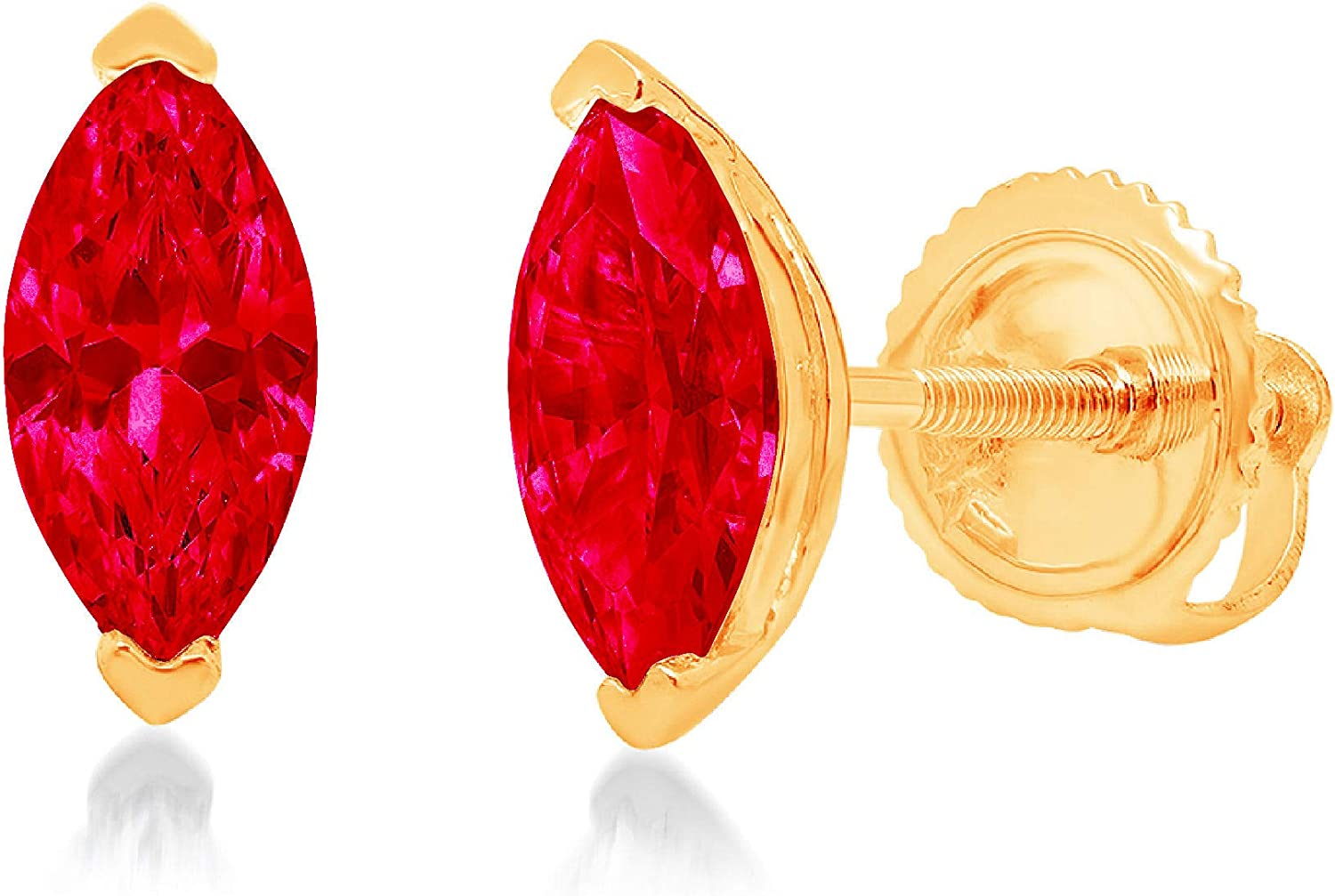 Clara Pucci 1.0 ct Brilliant Marquise Cut Solitaire VVS1 Flawless Simulated Ruby Gemstone Pair of Stud Earrings Solid 18K Yellow Gold Screw Back
