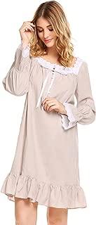 Women's Cotton Long Sleeve Sleepwear Victorian-Style Nightgown