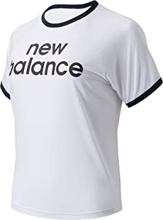 New Balance Women Achiever Graphic High Low Tee Performance White