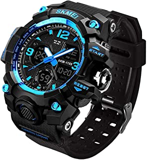 LYMFHCH Men's Analog Sports Watch, LED Military Digital Watch Electronic Stopwatch Large Dual Dial Time Outdoor Army Wrist Watch Tactical