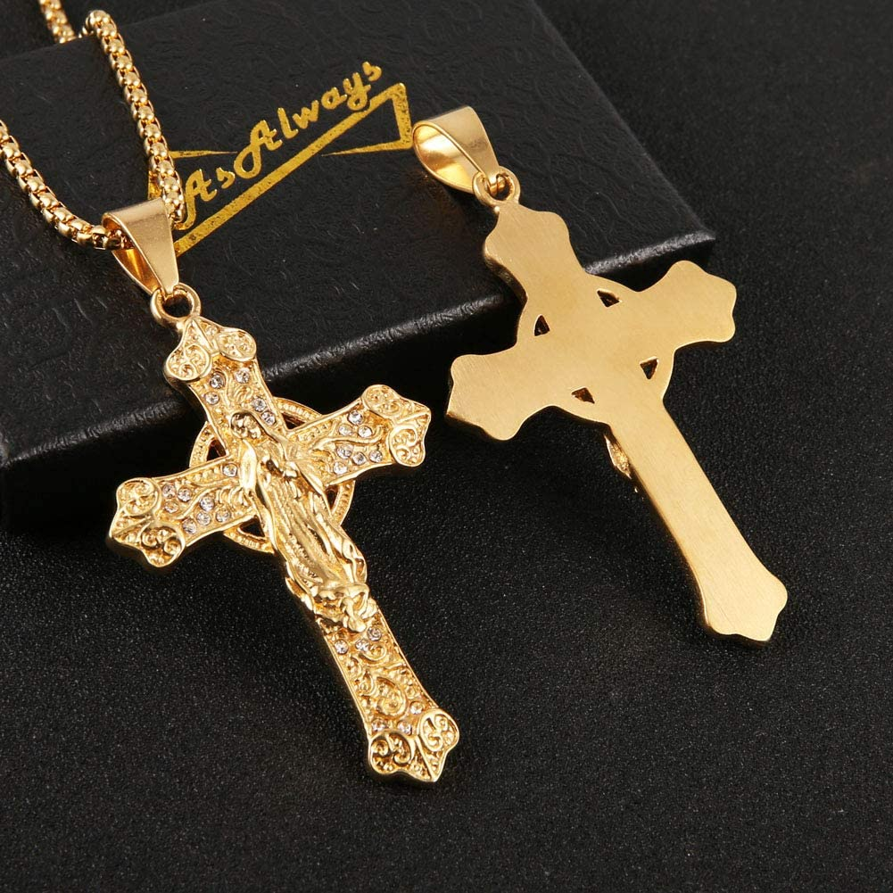 AsAlways Virgin Mary Necklace 18K Gold Plated CZ Men Women Christian Jewelry Cross Miraculous Medal Pendant Necklace Lucky Charm 22+2 Inch Chain