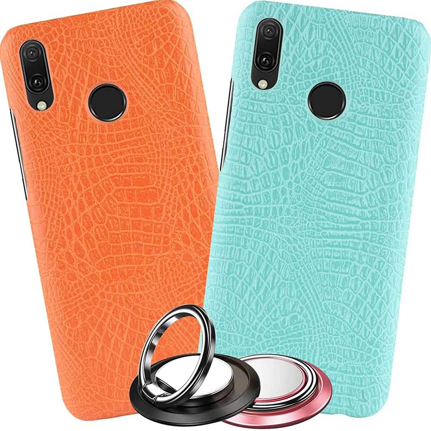 2X Huawei Y9 2019 Case Crocodile Pattern Leather for Men Women Girls,Ultra Slim Cover for Huawei Y9 2019 with 2 Pack Phone Case Kickstand Protector