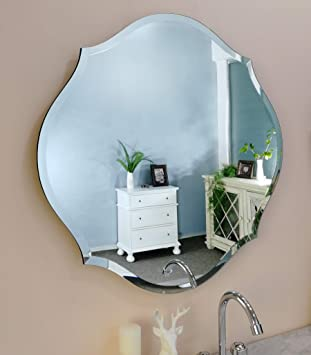 Amazon Com Mirror Trend 28 Inches Gentle Scalloped Frameless Beveled Mirrors For Bathroom Silver Mirror For Wall Decorative For Living Room And Bedroom Mirrors With Solid Core Wood Backing Home Kitchen