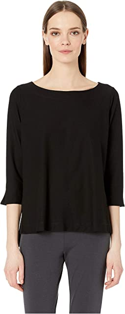 Lightweight Washable Stretch Crepe Ballet Neck 3/4 Sleeve Top